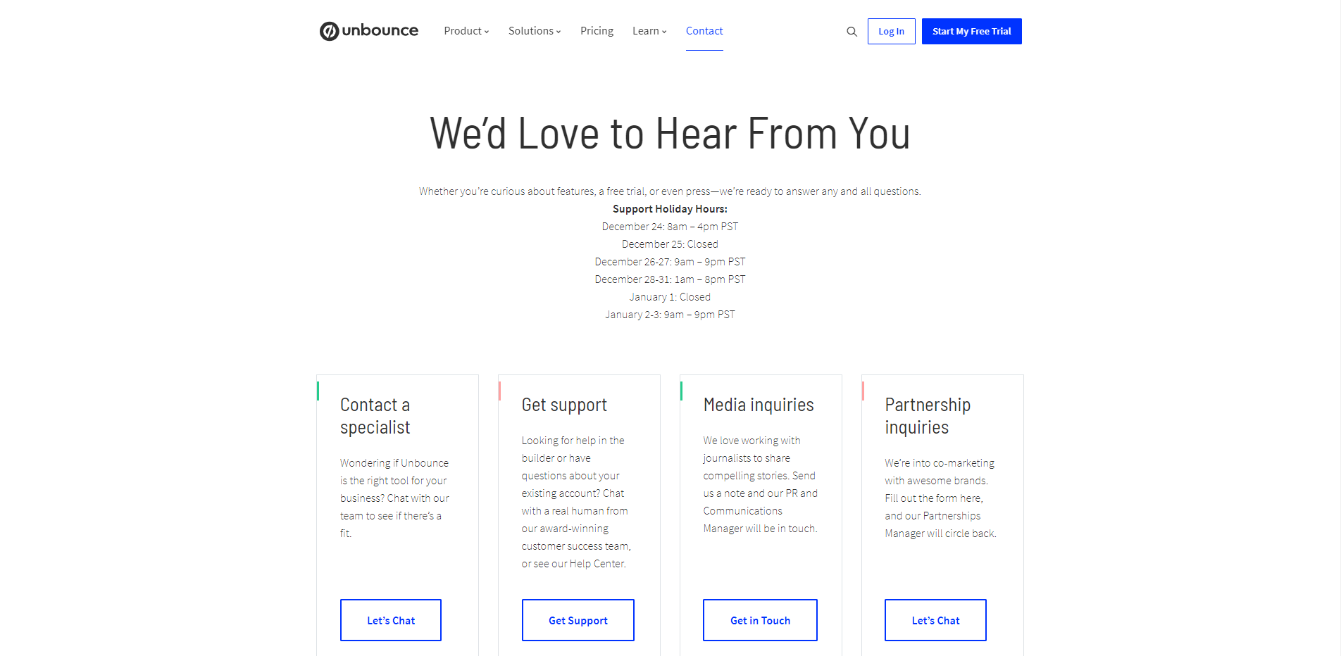 Unbounce contact